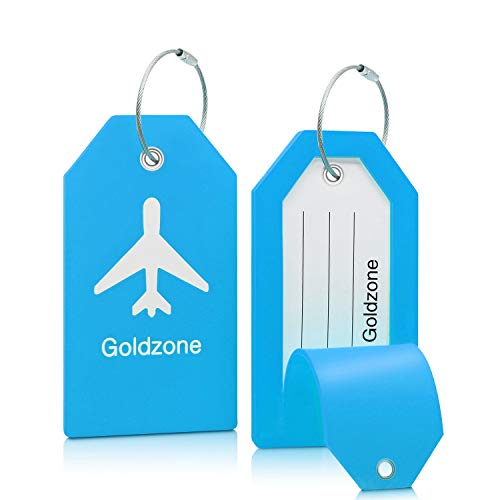 Goldzone Luggage Tags w/Full Privacy Flap,Great for Luggage Cases Identification … (Blue, 2 pack)