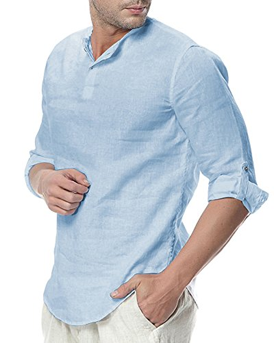 3/4 Sleeve Henley Tee - Sibylla Men's Casual 3/4 Sleeve Linen Henley T-Shirt High Low Solid Beach Yoga Top (Sky Blue, Medium)