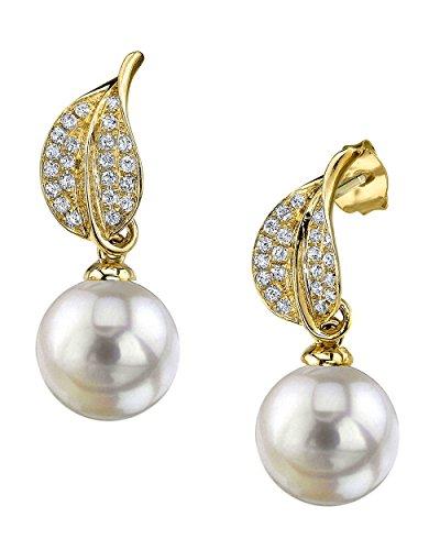 18k South Sea Pearl Earrings (18K Gold 10mm White South Sea Cultured Pearl & Diamond Eva Earrings)
