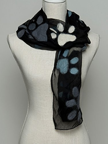 Paw Prints All Over Chiffon Scarf ~ BLACK with Gray, Ivory, and Light Blue Large Felted Paws ~ 18