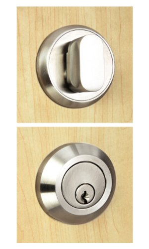 INOX RD110B6-32 Round Single-Cylinder Deadbolt with 2-3/8-Inch Backset, Polished Stainless ()