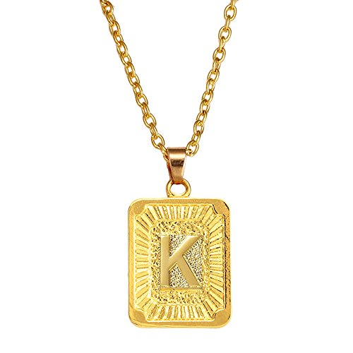 A-Z Square Pendant Gold Plated Charm Necklace for Women Mens Jewelry (K) (Gold Square Charm)