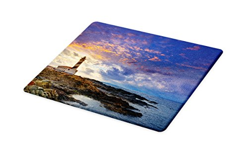 Lunarable Lighthouse Cutting Board, Cap de Favaritx Sunset Lighthouse Cape in Mahon at Balearic Islands Spain Coast, Decorative Tempered Glass Cutting and Serving Board, Small Size, Blue Brown by Lunarable