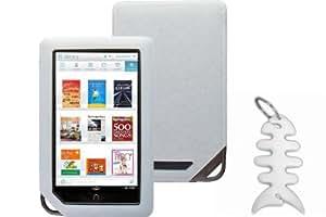 Barnes & Noble NOOK COLOR eBook Reader Tablet Silicone Skin Case Gel Cover- Clear + Fishbond keychain
