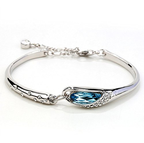 Price comparison product image Winter's Secret White Gold Color Beauty Diamond Accented Blue Crystal Studded Dangle Girl Bangle Bracelet