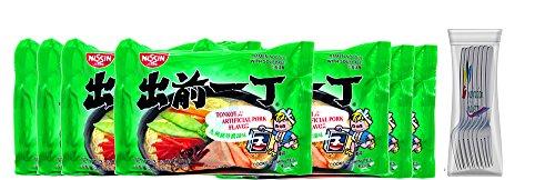 Nissin Ramen Noodles Soup Nissin Demae Tonkotsu Pork Instant Ramen Noodles 7 Packs Free Fork (Tonkotsu ()