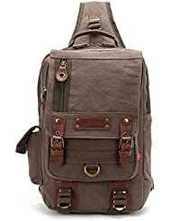 Canvas Leather Cross body Messenger Bag Sling Travel Hiking Chest Bag