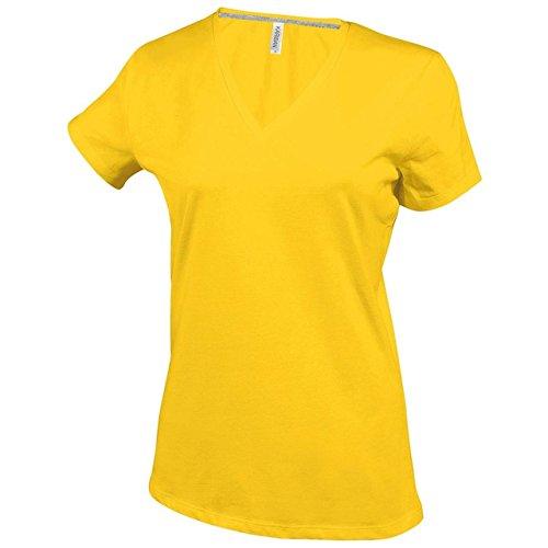 New de manga corta para mujer corte femenino para adaptarse al cuerpo V-cuello de ropa Casual T-camiseta de manga corta traje de neopreno para mujer amarillo