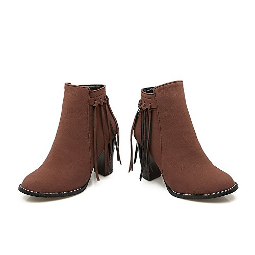 Brown Round Closed Frosted Solid Women's Top Toe Heels Low AgooLar Boots High PTUqww