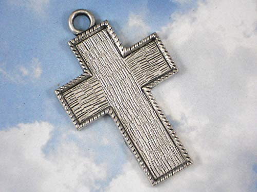 - Big 4 Cross Bezel Tray Pendant Frame Mounting Silver Tone Setting #ID-688