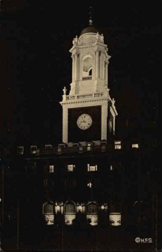 Illumination of Eliot House Tower, Harvard University Cambridge, Massachusetts Original Vintage Postcard