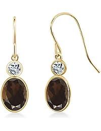 1.78 Ct Oval Brown Smoky Quartz White Topaz 14K Yellow Gold Earrings