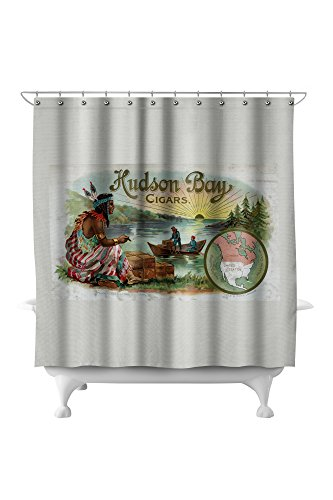 Hudson Bay Brand Cigar - Native American - Vintage Label (71x74 Polyester Shower Curtain)