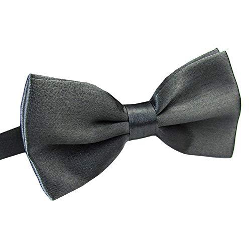 Men's Pre Tied Bow Ties for Wedding Party Fancy Plain Adjustable Bowties Necktie (Dark Gray)