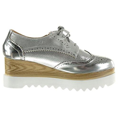 Angkorly - Zapatillas de Moda zapato derby suela de zapatillas zapatillas de plataforma mujer brillantes perforado Talón Plataforma 6.5 CM - Plata