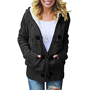 Dokotoo Womens Hooded Cardigans Button Up Cable Knit Sweater Coat Outwear with Pockets