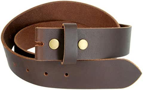 Gurscour Mens Belts Genuine Leather Belt without Buckle 1.5 Brown with Silver Snap