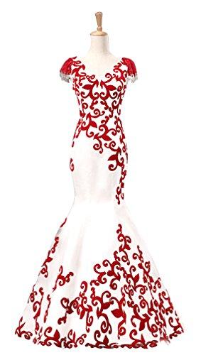LiCheng Bridal Lace Cap Sleeves Mermaid Bodycon Evening Dresses Velvet Embossed Corset Back Prom Formal Dresses Burgandy US14 (Burgandy Velvet Dress)