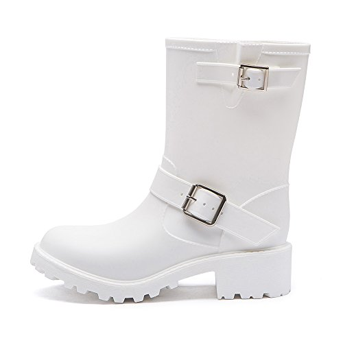 Rain White Shoes and Women's Solid Rain Fashion Heeled Slip Cavave Shoes Color Low Non XHOwqPUg