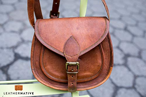 Women's Handmade Leather Saddlebag Purse - Smart Green Canvas Lining and Reinforced Hand-Stitching - 3 Compartments, 2 are Zippered - Lustrous Crossbody Purse for Business and Pleasure ()