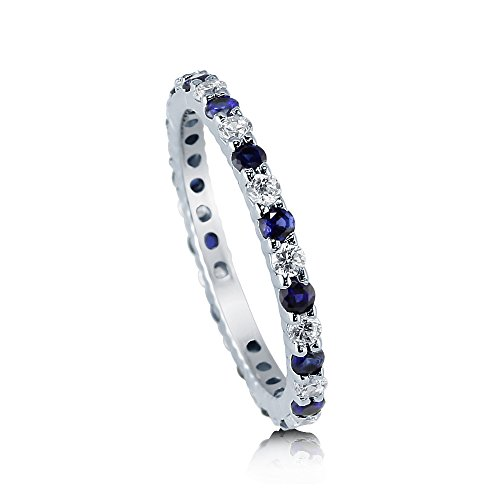 BERRICLE Rhodium Plated Sterling Silver Simulated Blue Sapphire Cubic Zirconia CZ Anniversary Wedding Eternity Band Ring Size 7