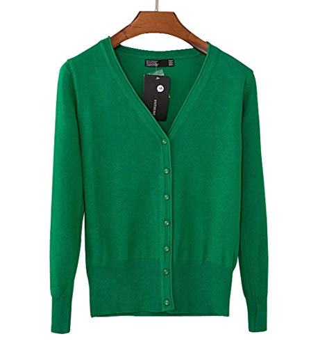 Donna Top Di Moda Vita Alta Maglie Primaverile Autunno Manica Lunga Single Breasted V-Neck Monocromo Grazioso Maglione Lana Confortevole Slim Fit Outwear (Color : Green 1, Size : S)