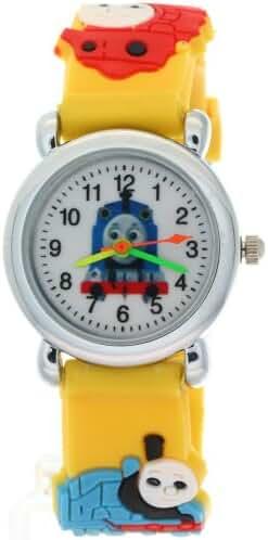 TimerMall Cartoon Black Rubber Quartz Kids Watches THOMAS & FRIENDS Pattern