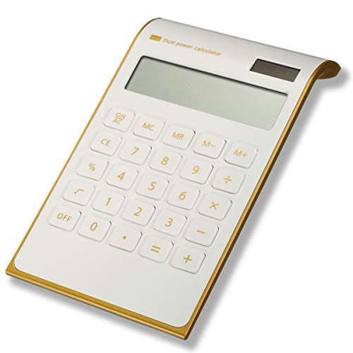 Calculator Caveen Slim White Business Calculator in Home or Office Electronic Solar Dual Powered Basic Desktop Calculator for 10 Digits Standard Function Financial