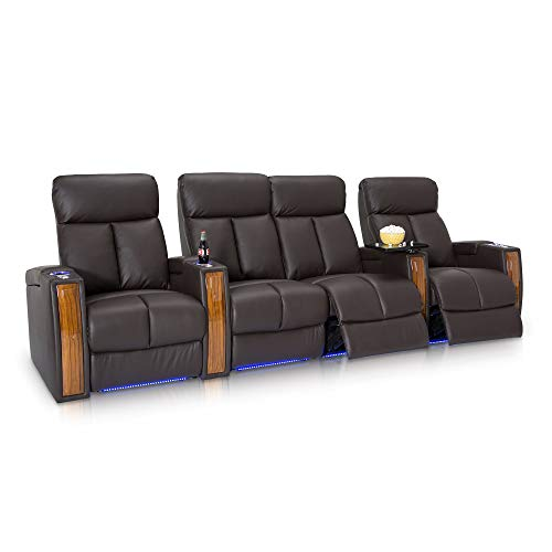 Seatcraft Seville Home Theater Seating Leather Power Recline with SoundShaker, in-arm Storage, Base Lighting, and Lighted Cup Holders (Brown, Row of 4 with Middle Loveseat) ()