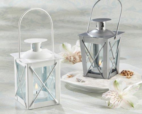 Kate Aspen Luminous Metal Mini Lanterns, Vintage Teal Light Candle Holders, White