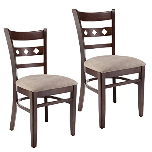 Beechwood Mountain BSD-18S-W Solid Beech Wood Side Chairs in Walnut for Kitchen and dining, set of 2
