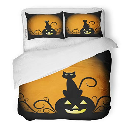 Tarolo Bedding Duvet Cover Set Orange Halloween Pumpkin and Cat Yellow Black Moon October Clipart Scary 3 Piece Twin 68