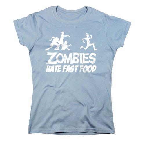(Nutees Women's Zombies Hate Fast Food Running Jog Womens T Shirt Light Blue)