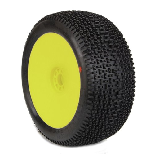 AKA Products 14112VRY Racing Truggy Evo City Block Super Soft Pre-Mounted Yellow Tire, Scale (City Block Tires)