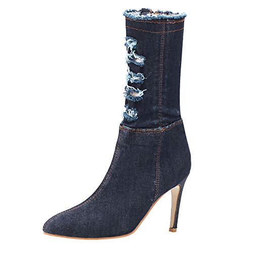 Women High Heel Shoes Middle Tube Boot Denim Zippe for sale  Delivered anywhere in USA