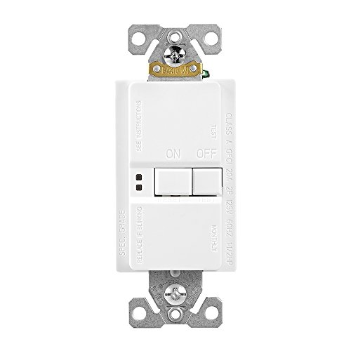 EATON GFCI Self-Test 20A -125V Blank Face Receptacle with Standard Size Wallplate, White