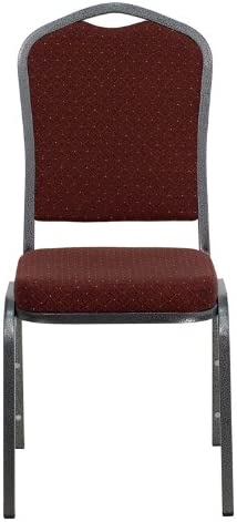 Gold Frame Flash Furniture HERCULES Series Crown Back Stacking Banquet Chair in Burgundy Fabric