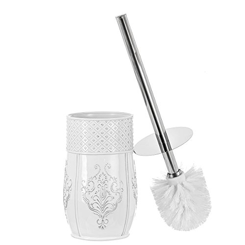 Creative Scents Bathroom Toilet Brush Set - Vintage White Collection, Good Grip Toilet Bowl Cleaner Brush and Holder, Decorative Design Compact Bowl Scrubber (White) by Creative Scents