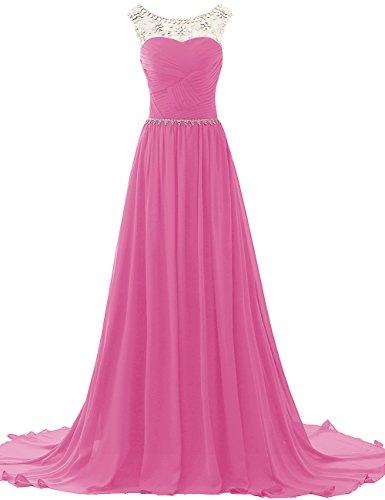 con da sera lungo damigella da Rosa Perline da ballo JAEDEN Abiti Vestito Chiffon Abiti Donne ApwzP