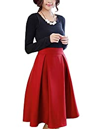 Women's Vintage Knee Length Pleated Flared A Line Skirt