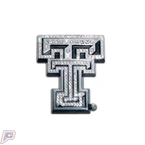 Texas Tech Red Raiders Crystal Solid Metal Emblem (Red Crystal Emblem)