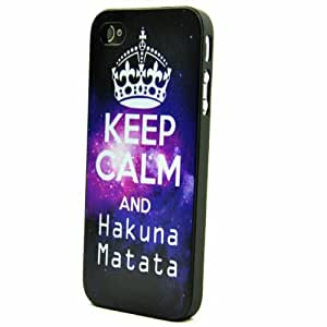 Keep Calm and Hakuna Matata Galaxy Space Pattern Snap On Case Cover For Apple iphone 4 4s Free Screen Protector