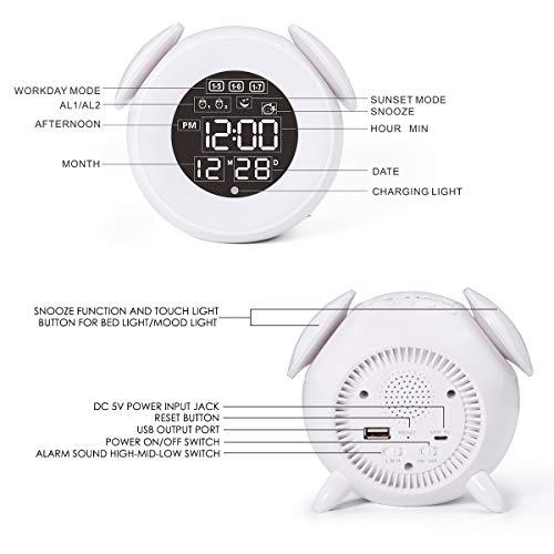 HOMVILLA Reloj Despertador, Despertador Infantil para Alarmas Dobles Luz de Despertador Luz de Noche Lámpara de Mesilla de Noche con Función de Control Táctil de Repetición 25 Sonidos Naturales Clock