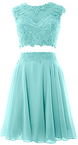 Lace Dress Aqua MACloth Homecoming Women 2 Wedding Gown Party Piece Vintage Prom xwwa0TqBF