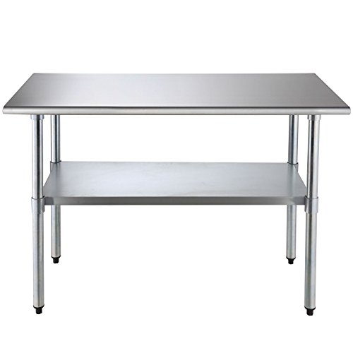 SUNCOO Commercial Stainless Steel Work Table Food Grade Kitchen Prep Workbench Metal Restaurant Countertop Workstation with Adjustable Undershelf 48 in Long x 24 in Deep