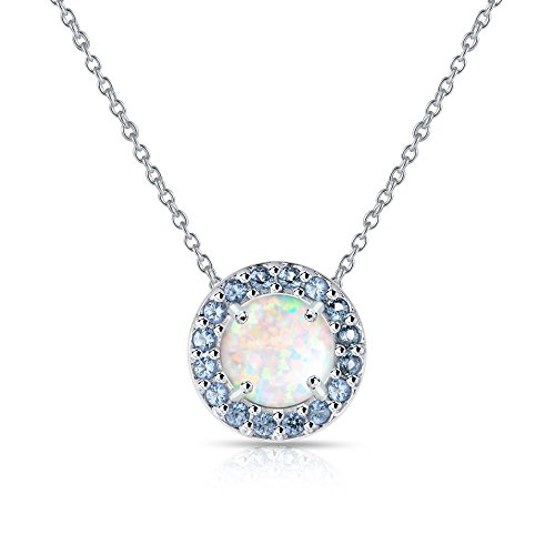 - GemStar USA Sterling Silver Simulated White Opal and Simulated Tanzanite Round Halo Necklace