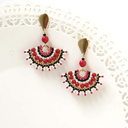 Designer Black and Red Fan 14K Gold-filled Dangle Stud Earrings