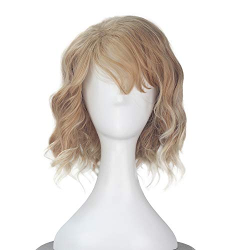 iCos Unisex Short Curly Wave Gold Brown Color with Full Bangs Costume Wig Adult Halloween