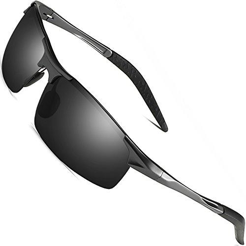 Sports Polarized Sunglasses for Men - FEIDU Driving Sunglasses UV400 Protection FD8005(black/gun) by FEIDU