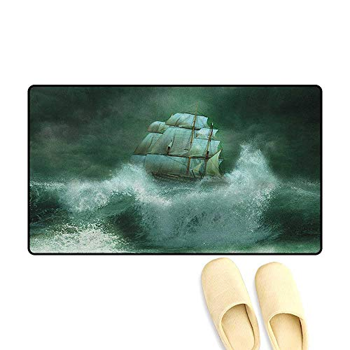 In Adventures Fantasy (zojihouse Pirate Ship Bath Mat for tub Old Ship in Thunderstorm Digital Artwork Fantasy Adventure Size:16